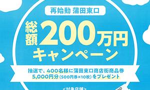 [蒲田] 蒲田東口商店街が「再始動  蒲田東口  総額200万円キャンペーン」実施